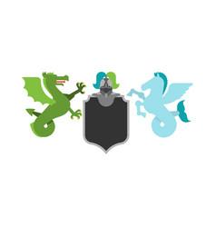 Heraldic shield hippocampus and wyvern sea dragon vector