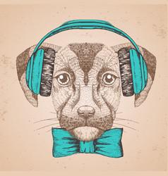 Hipster animal dog hand drawing muzzle dog vector