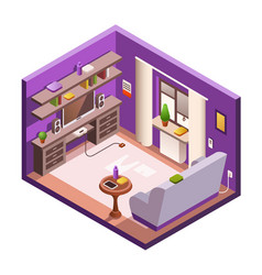 Isometric living room interior background vector