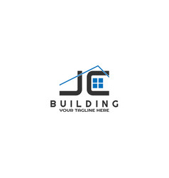 j and c initials modern building logo template vector image