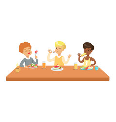 Kids eating brekfast and lunch food and drinking vector