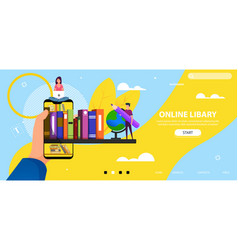 Landing page with flat people characters vector