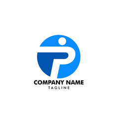 Letter p people logo template vector