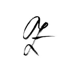 letter z handwritten by dry brush rough strokes vector image