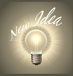 light bulb with wording new idea emblem vector image