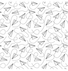 line paper airplane seamless pattern flying black vector image