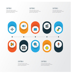 Media icons colored line set with volume up vector