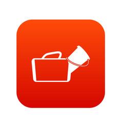medical bag icon digital red vector image
