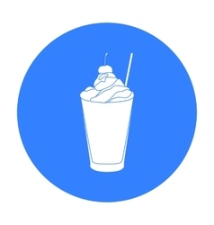 Milkshake with cherry on the top icon in black vector