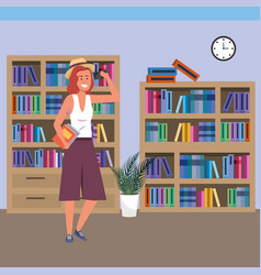 Millennial student using smartphone on library vector