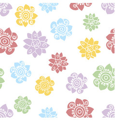 multicolor simple flower heads pattern scattered vector image