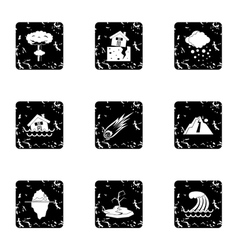 Natural catastrophe icons set grunge style vector