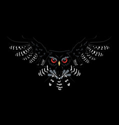 owl attack from the dark vector image
