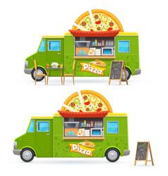 pizza food truck isolated car cartoon van vector image