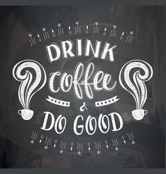 Poster with inscription about coffee drinks vector