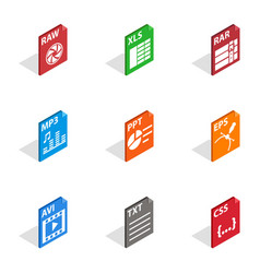 Program file icons isometric 3d style vector