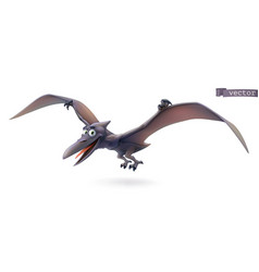 pterodactyl pterosaur flying dinosaur cartoon vector image