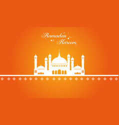 Ramadan kareem with mosque greeting card vector