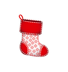 Red christmas socks with fur and snowflakes vector