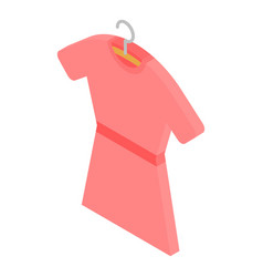 Red dress on hanger icon isometric style vector