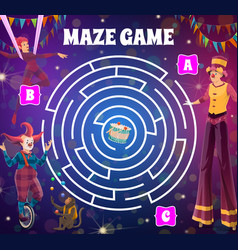 Round circus labyrinth maze game with clowns vector