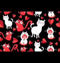 seamless bright pattern with cats in love vector image