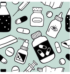 seamless pattern with health care and medicine vector image
