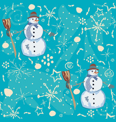 seamless pattern with snowman on blue background vector image