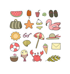 set for beach summer collection cute cartoon vector image