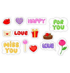 Set of love sticker flat and cartoon style vector