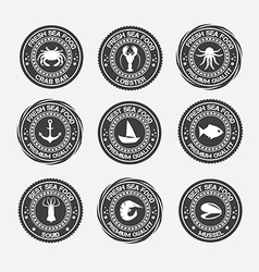 Set vintage and modern seafood logo restaurant vector
