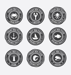 Set vintage and modern seafood logo restaurant vector