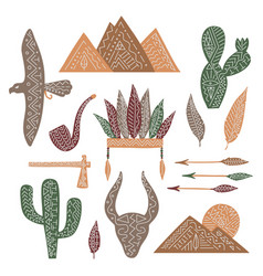 Set wild west elements isolated feathers vector