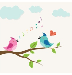 singing bird in love on a branch vector image