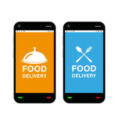 smartphone with food delivery application logo vector image