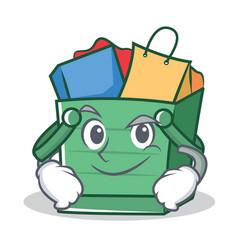 Smirking shopping basket character cartoon vector
