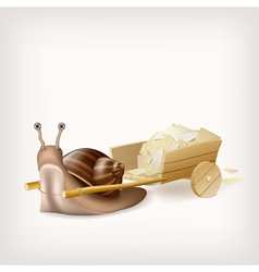 Snail with the cart with mail vector