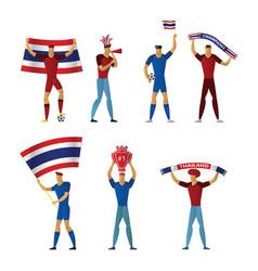 thailand football fans cheerful soccer vector image