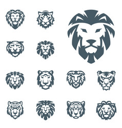 Tiger and lions head face silhouette badge vector