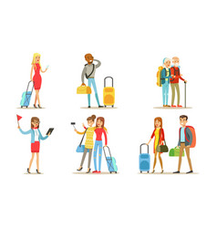 travelling people set tourists characters with vector image
