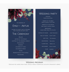 Wedding party amp ceremony program card design vector