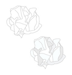 White paper crumbled ball and outline vector