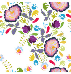White pattern with colourful flowers vector