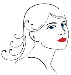 Woman face drawing 3 vector