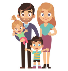 young family mother and father with kids brother vector image