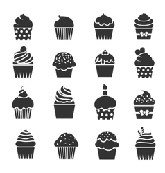 Cupcake icons Dessert baking black and white vector image