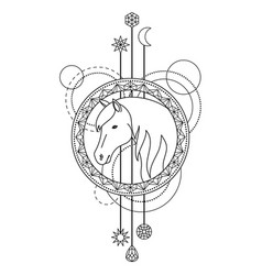 geometric horse symbol vector image vector image