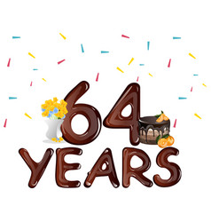 happy birthday sixty four 64 year vector image