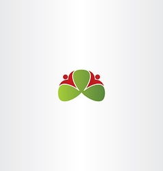 healthy people around green leaves logo icon vector image vector image