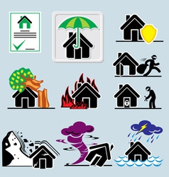 home insurance icons vs vector image vector image